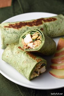 Thai chicken spinach wraps