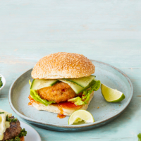 Thai prawn burgers with cucumber and sweet chilli sauce