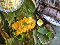 Thai-style pollock grilled in banana leaves