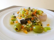 The Art of Eating's swordfish with olives, celery, garlic, vinegar, and mint (Cook the Book)
