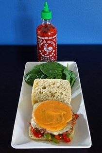 The rooster Sriracha burger