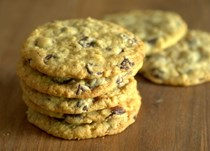 Thin, chewy dairy-free chocolate chip oatmeal cookies
