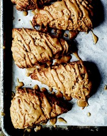 Toasted hazelnut whole wheat scones with maple glaze