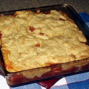 Tomato cobbler with extra corny topping