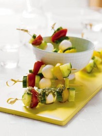 Tomato, cucumber, and mozzarella skewers