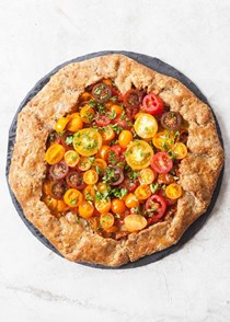 Tomato galette with Parmesan whole wheat crust