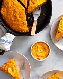 Tomato skillet cornbread with hot honey tomato butter