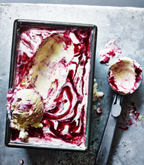 Traditional vanilla cherry ripple ice cream
