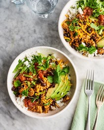 Turkey burrito bowls with cilantro-lime rice