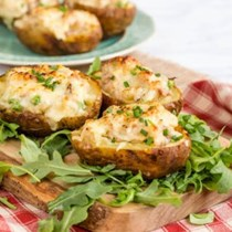 Turkey, ham and cheese stuffed twice baked potatoes