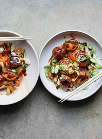 Turkey meatballs with rice noodle salad