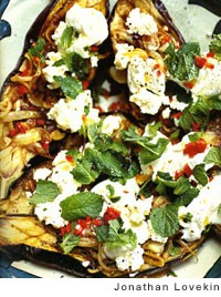 Turkish baked eggplant with chile, feta, and mint