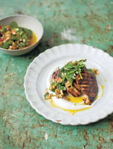 Turkish-spiced chicken with hot green relish