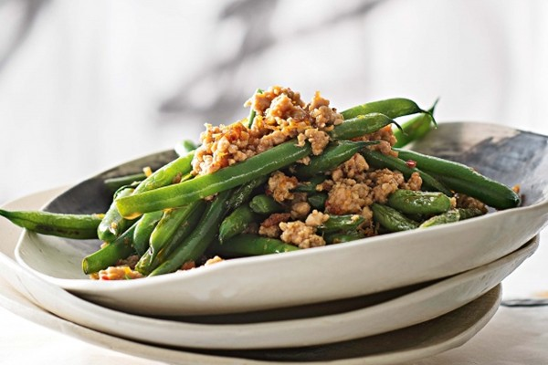 Twice-cooked beans with pork and XO sauce