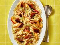 Valerie Bertinelli's turkey sausage with fennel sauerkraut