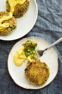 Vegan avocado fritters with cashew hollandaise