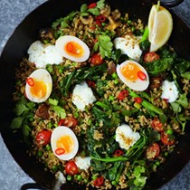Vegeree not kedgeree, spiced rice, veg, eggs & yoghurt