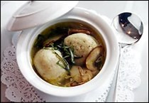 Vegetable broth with lemon-and thyme-scented matzoh balls