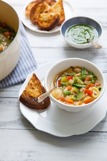 Vegetable soup with basil pistou