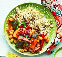 Vegetable tagine with apricot quinoa