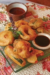 Vegetable tempura with Thai basil