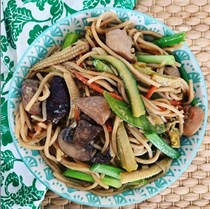 Veggie packed chicken lo mein for crowd
