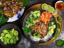 Vietnamese grilled pork chops with chilled rice noodles