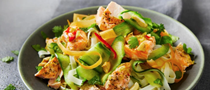 Vietnamese-style salmon with roasted cashew rice noodle salad