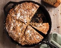 Walnut golden raisin soda bread