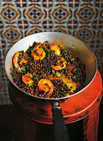 Warm barberry and posh prawns with lentils