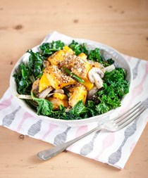 Warm butternut squash salad with dukkah crunch