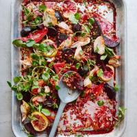 Warm chicken, beetroot and mixed grain salad
