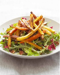 "Warm winter salad of roasted root ""fries"" with shallot and sherry-maple vinaigrette"