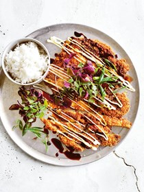 Wasabi and sesame chicken schnitzel