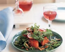 Watermelon, arugula, and toasted almond salad