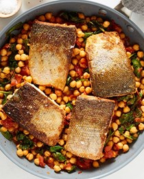 Weeknight salmon with smoky spinach and chickpeas