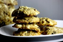 White chocolate-cherry-almond cookies