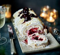 White Forest meringue roulade