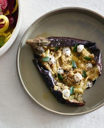 Whole baked eggplant with extra virgin olive oil, toasted spice & buttermilk curd