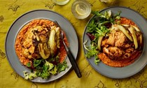 Whole roast cauliflower with muhammara