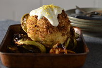 Whole roasted cauliflower with dukkah and yoghurt dressing