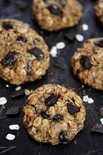 Whole wheat banana coconut oatmeal chocolate chunk cookies