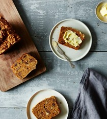 Whole wheat molasses yogurt bread with figs and walnuts