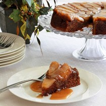 Whole wheat pear upside down gingerbread cake with caramel sauce
