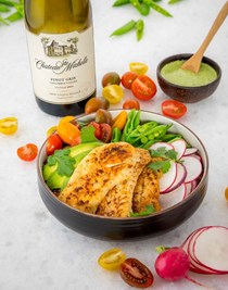 Wild Alaska pollock rainbow bowl with creamy green dressing