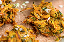 Wild garlic and onion bhaji with wild garlic raita