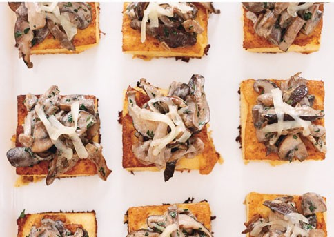 Wild mushroom ragoût on crispy polenta with Comté cheese ...