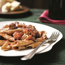 Wine-stained pasta with sausage meatballs and cauliflower