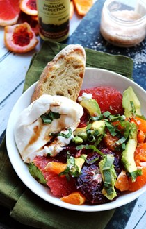 Winter citrus and avocado salad with burrata and balsamic reduction