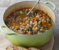 Winter minestrone and garlic bruschetta